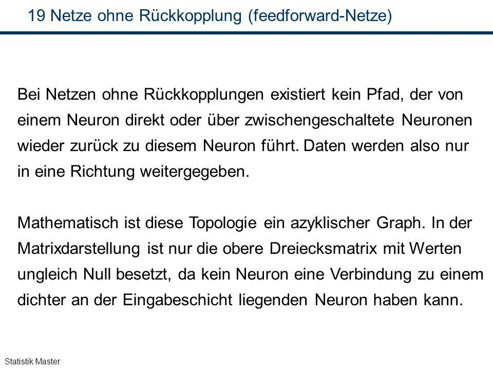Statistik Master 19 Netze ohne Rückkopplung (feedforward-Netze) Bei Netzen ohne Rückkopplungen existiert kein Pfad, der von einem Neuron direkt oder ü