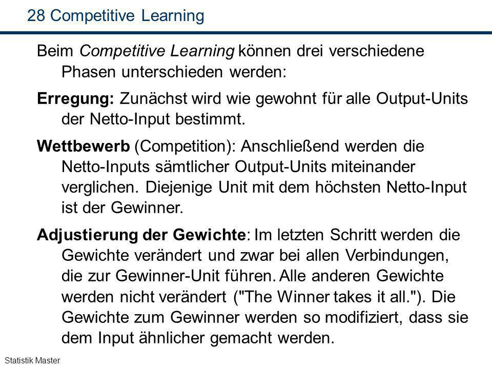 Statistik Master 28 Competitive Learning Beim Competitive Learning können drei verschiedene Phasen unterschieden werden: Erregung: Zunächst wird wie g