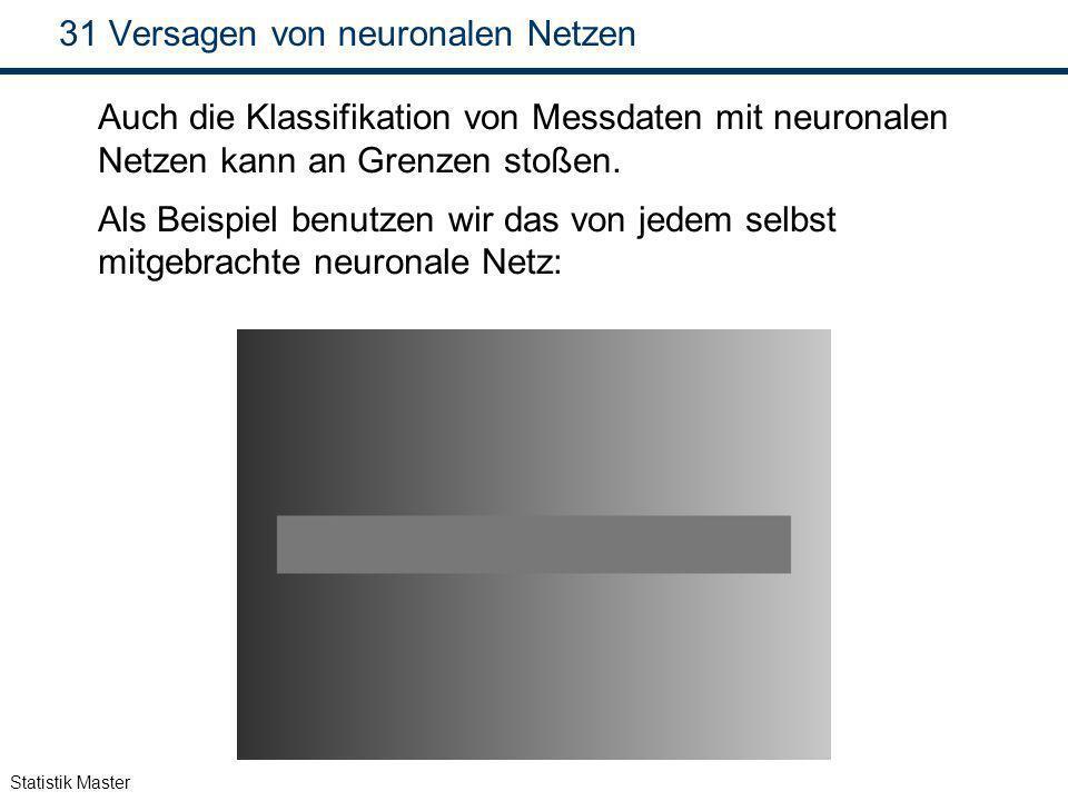 Statistik Master 31 Versagen von neuronalen Netzen Auch die Klassifikation von Messdaten mit neuronalen Netzen kann an Grenzen stoßen. Als Beispiel be