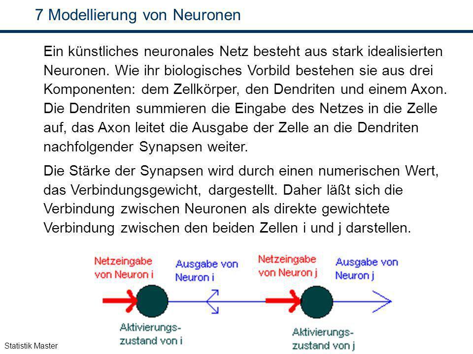 Statistik Master 7 Modellierung von Neuronen Ein künstliches neuronales Netz besteht aus stark idealisierten Neuronen. Wie ihr biologisches Vorbild be