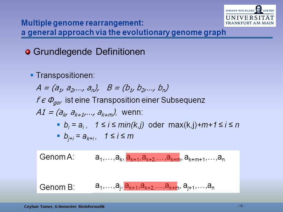 Ceyhun Tamer, 6.Semester Bioinformatik - 18 - Multiple genome rearrangement: a general approach via the evolutionary genome graph Grundlegende Definitionen Transpositionen: A = (a 1, a 2,…, a n ), B = (b 1, b 2,…, b n ) f є Φ gor ist eine Transposition einer Subsequenz A1 = (a k, a k+1,…, a k+m ), wenn: b i = a i, 1 i min(k,j) oder max(k,j)+m+1 i n b j+i = a k+i, 1 i m a 1,…,a k, a k+1,a k+2, …,a k+m, a k+m+1,…,a n a 1,…,a j, a k+1,a k+2, …,a k+m, a j+1,…,a n Genom A: Genom B: