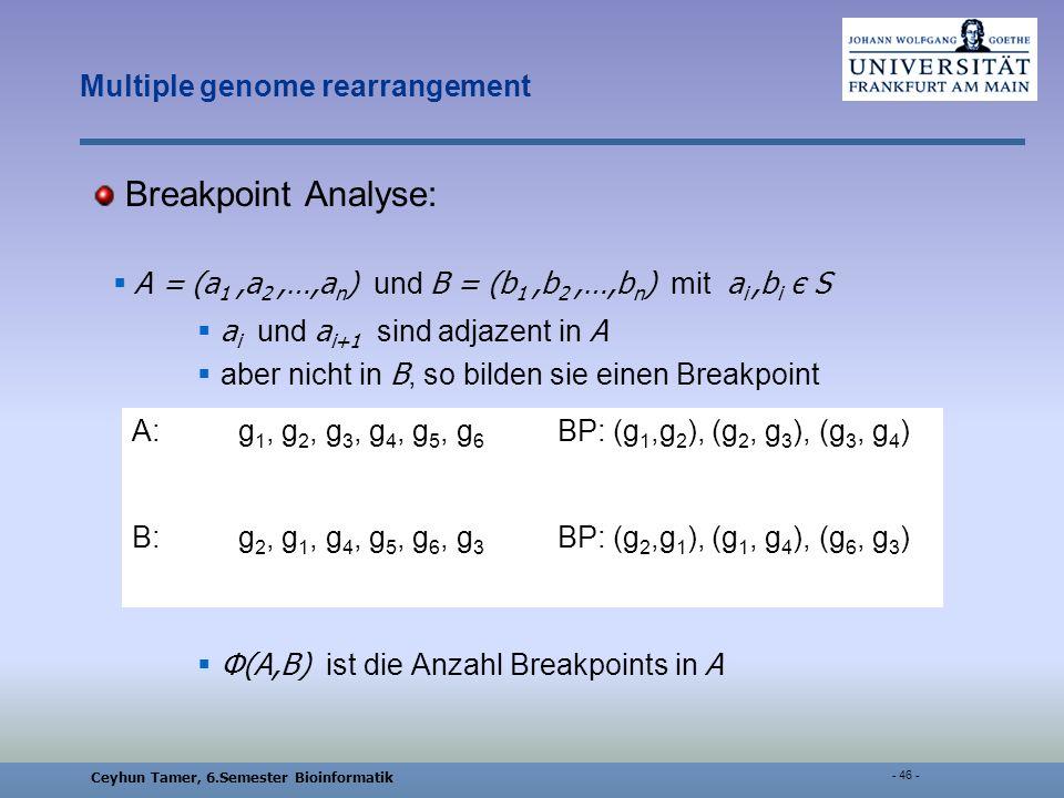 Ceyhun Tamer, 6.Semester Bioinformatik - 46 - Multiple genome rearrangement Breakpoint Analyse: A = (a 1,a 2,…,a n ) und B = (b 1,b 2,…,b n ) mit a i,b i є S a i und a i+1 sind adjazent in A aber nicht in B, so bilden sie einen Breakpoint Φ(A,B) ist die Anzahl Breakpoints in A A:g 1, g 2, g 3, g 4, g 5, g 6 BP: (g 1,g 2 ), (g 2, g 3 ), (g 3, g 4 ) B:g 2, g 1, g 4, g 5, g 6, g 3 BP: (g 2,g 1 ), (g 1, g 4 ), (g 6, g 3 )