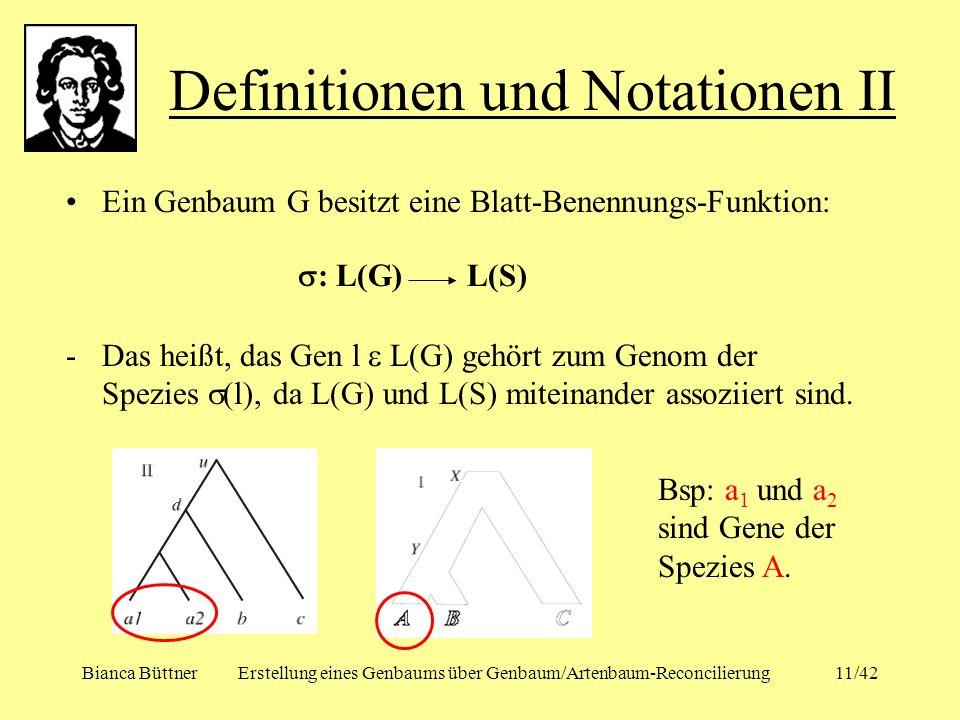 Bianca BüttnerErstellung eines Genbaums über Genbaum/Artenbaum-Reconcilierung11/42 Ein Genbaum G besitzt eine Blatt-Benennungs-Funktion: : L(G) L(S) -