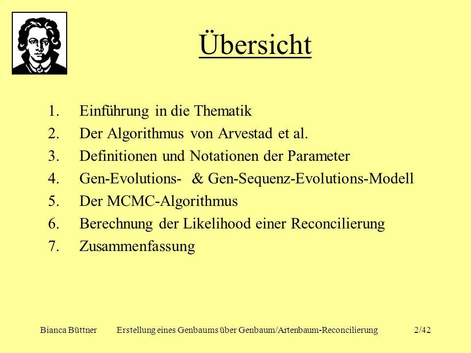 Bianca BüttnerErstellung eines Genbaums über Genbaum/Artenbaum-Reconcilierung2/42 1.Einführung in die Thematik 2.Der Algorithmus von Arvestad et al. 3