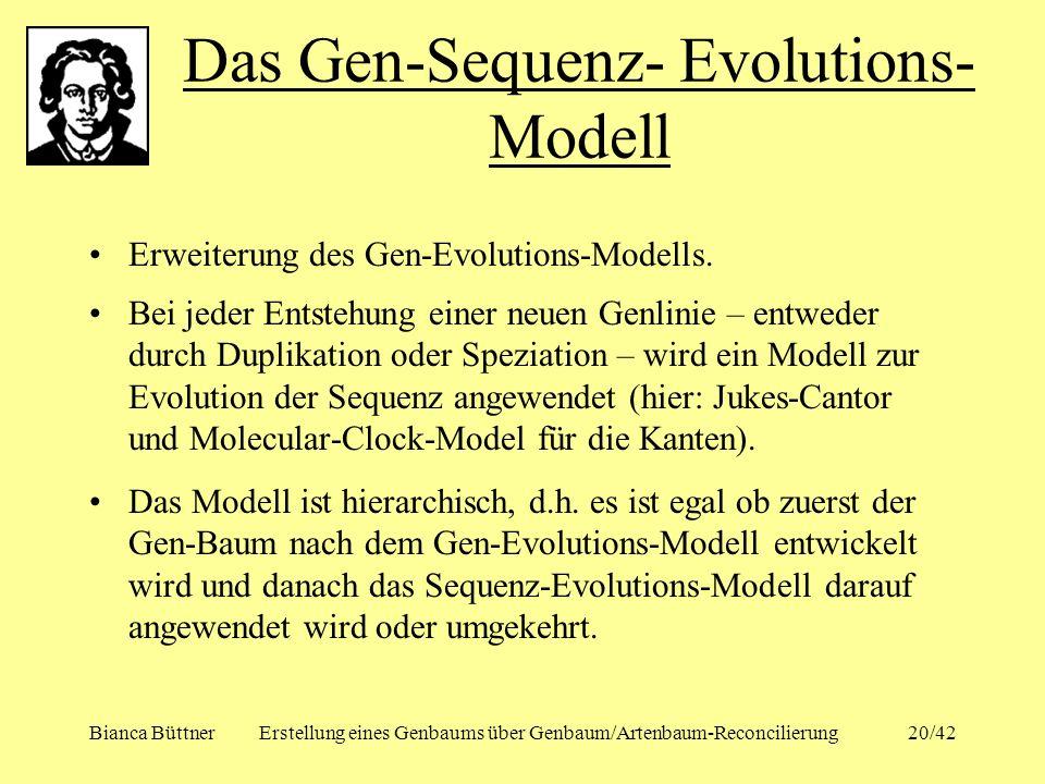 Bianca BüttnerErstellung eines Genbaums über Genbaum/Artenbaum-Reconcilierung20/42 Erweiterung des Gen-Evolutions-Modells. Bei jeder Entstehung einer