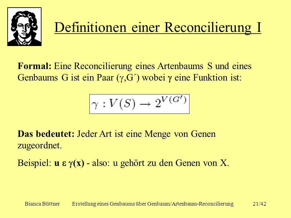 Bianca BüttnerErstellung eines Genbaums über Genbaum/Artenbaum-Reconcilierung21/42 Definitionen einer Reconcilierung I Formal: Eine Reconcilierung ein