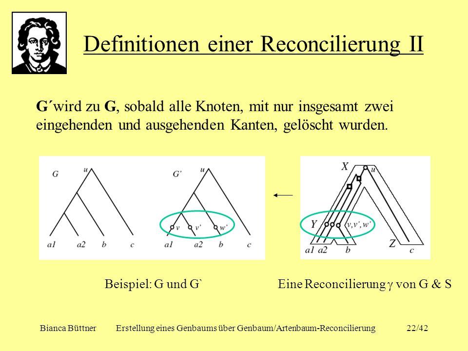 Bianca BüttnerErstellung eines Genbaums über Genbaum/Artenbaum-Reconcilierung22/42 Definitionen einer Reconcilierung II G´wird zu G, sobald alle Knote