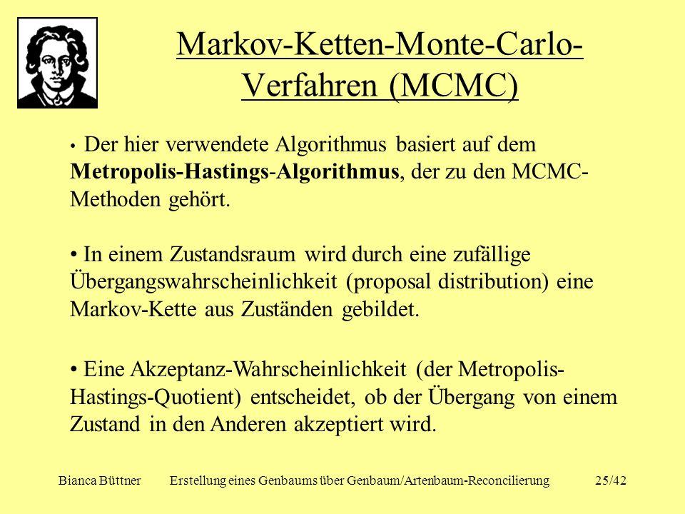 Bianca BüttnerErstellung eines Genbaums über Genbaum/Artenbaum-Reconcilierung25/42 Markov-Ketten-Monte-Carlo- Verfahren (MCMC) Der hier verwendete Alg