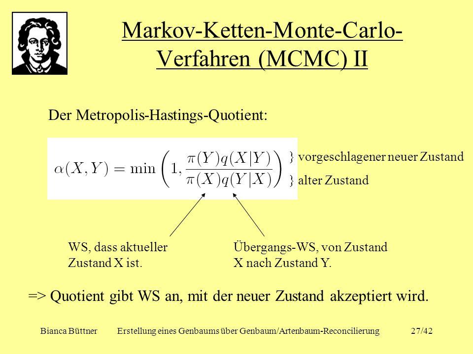 Bianca BüttnerErstellung eines Genbaums über Genbaum/Artenbaum-Reconcilierung27/42 Markov-Ketten-Monte-Carlo- Verfahren (MCMC) II Der Metropolis-Hasti
