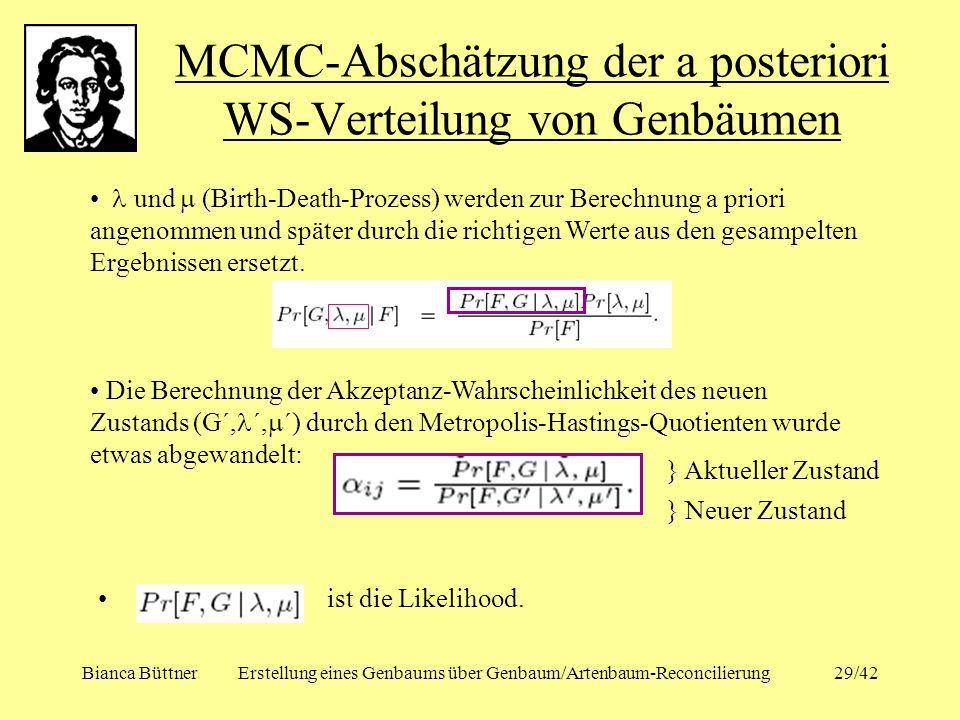 Bianca BüttnerErstellung eines Genbaums über Genbaum/Artenbaum-Reconcilierung29/42 MCMC-Abschätzung der a posteriori WS-Verteilung von Genbäumen und (
