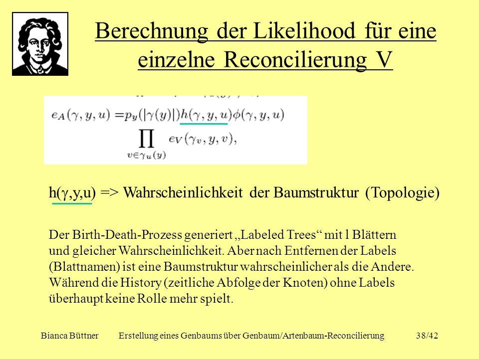 Bianca BüttnerErstellung eines Genbaums über Genbaum/Artenbaum-Reconcilierung38/42 Berechnung der Likelihood für eine einzelne Reconcilierung V h(,y,u
