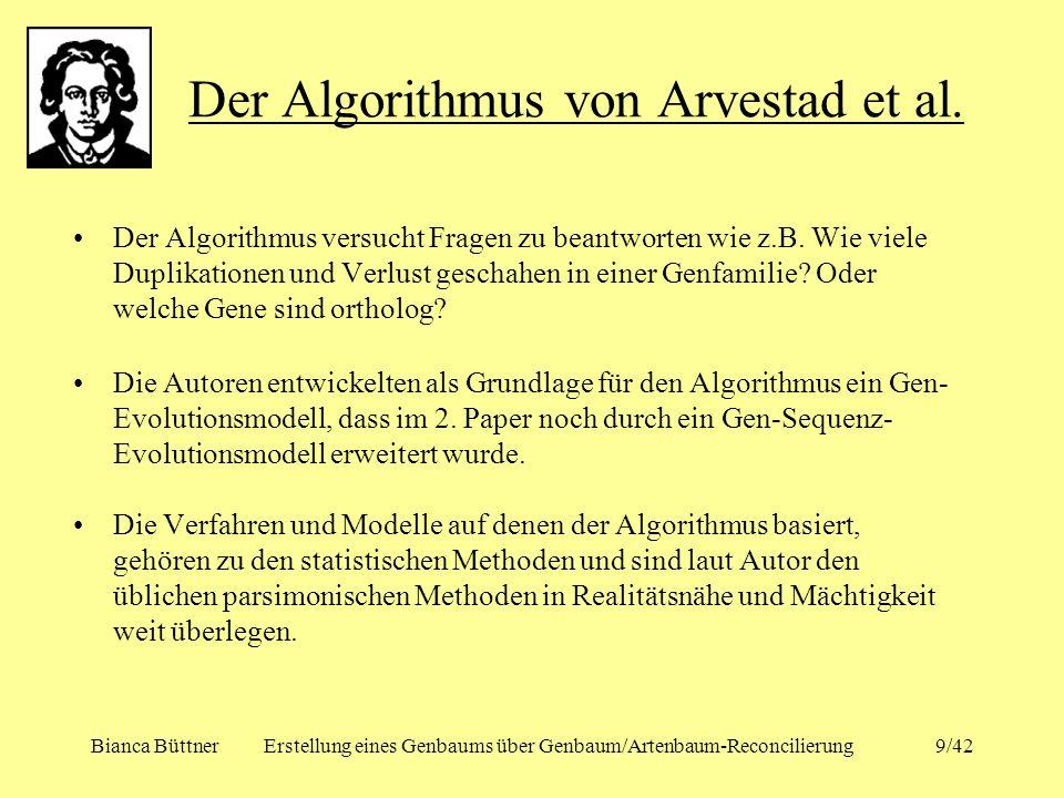 Bianca BüttnerErstellung eines Genbaums über Genbaum/Artenbaum-Reconcilierung9/42 Der Algorithmus versucht Fragen zu beantworten wie z.B. Wie viele Du