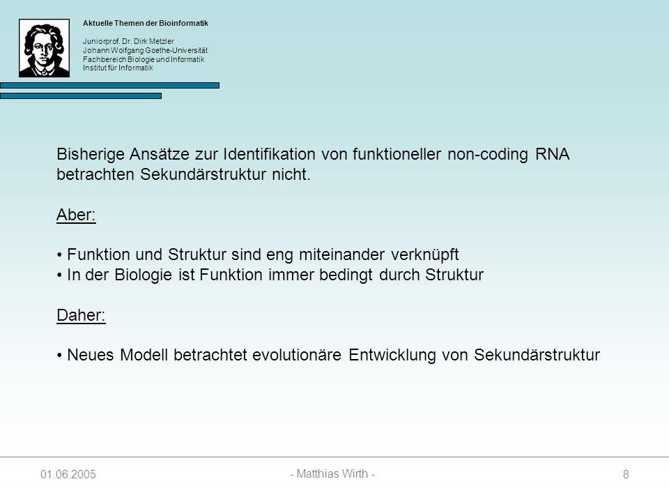 Aktuelle Themen der Bioinformatik Juniorprof.Dr.