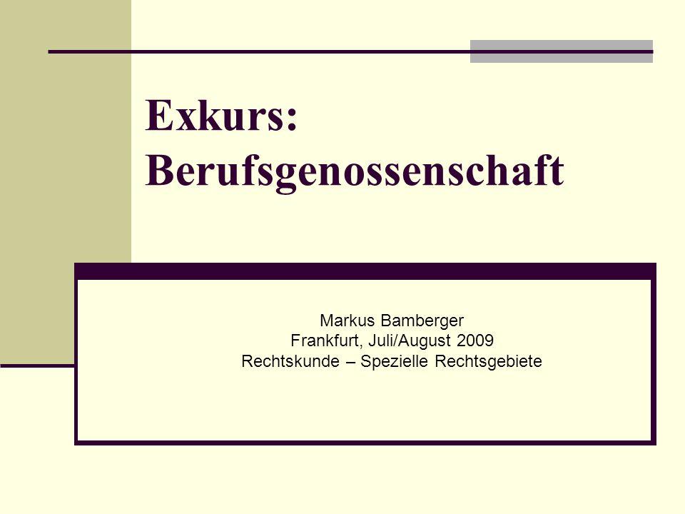 Markus Bamberger Frankfurt, Juli/August 2009 Rechtskunde – Spezielle Rechtsgebiete Exkurs: Berufsgenossenschaft