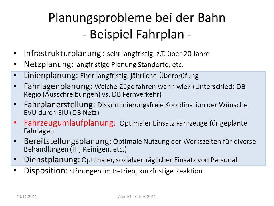 Planungsprobleme bei der Bahn - Beispiel Fahrplan - Infrastrukturplanung : sehr langfristig, z.T. über 20 Jahre Netzplanung: langfristige Planung Stan