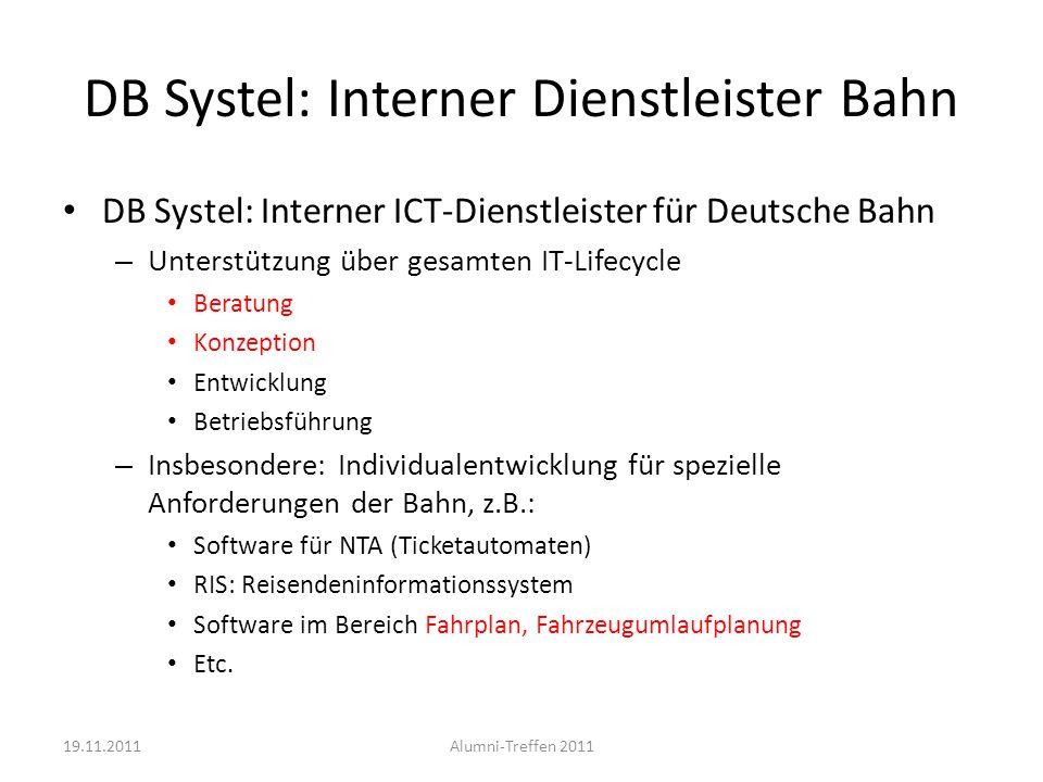 DB Systel: Interner Dienstleister Bahn DB Systel: Interner ICT-Dienstleister für Deutsche Bahn – Unterstützung über gesamten IT-Lifecycle Beratung Kon