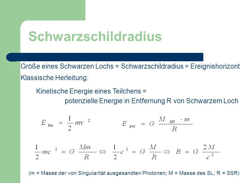 Schwarzschildradius Größe eines Schwarzen Lochs = Schwarzschildradius = Ereignishorizont Klassische Herleitung: potenzielle Energie in Entfernung R vo