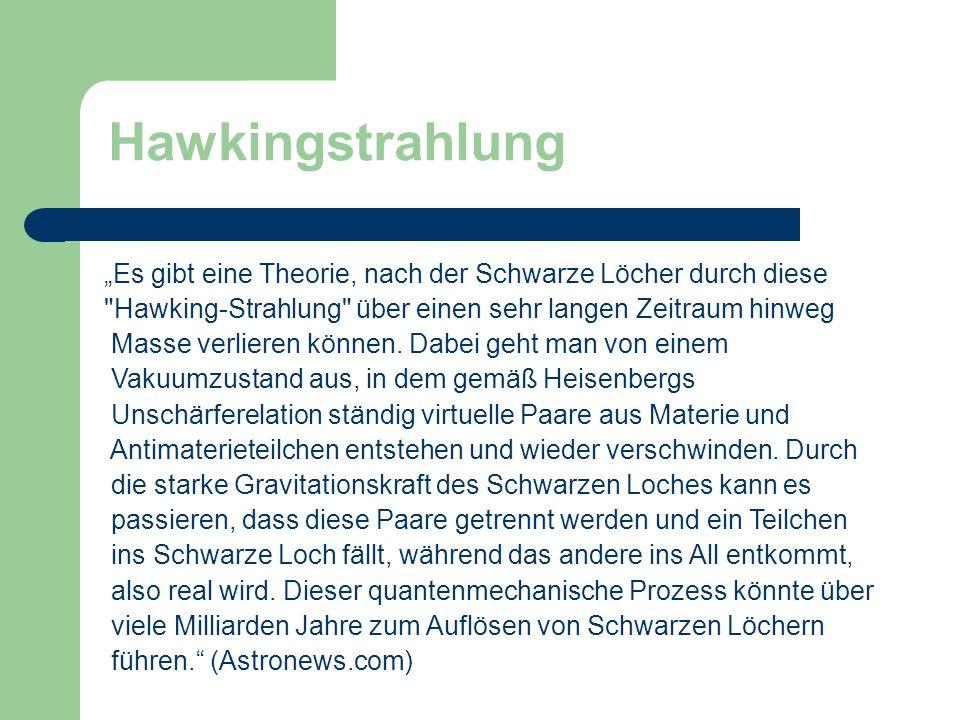Hawkingstrahlung Es gibt eine Theorie, nach der Schwarze Löcher durch diese