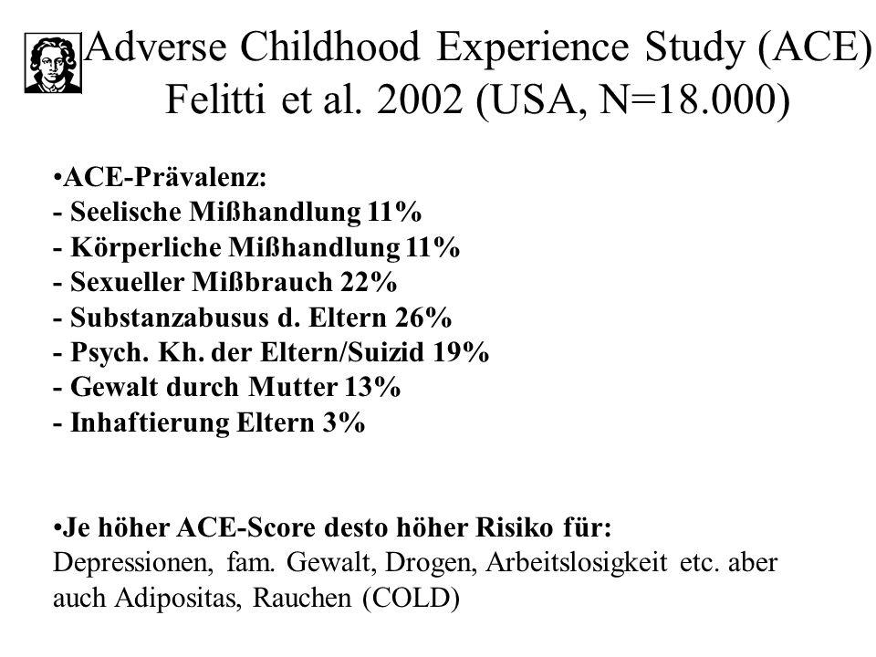 Adverse Childhood Experience Study (ACE) Felitti et al. 2002 (USA, N=18.000) ACE-Prävalenz: - Seelische Mißhandlung 11% - Körperliche Mißhandlung 11%
