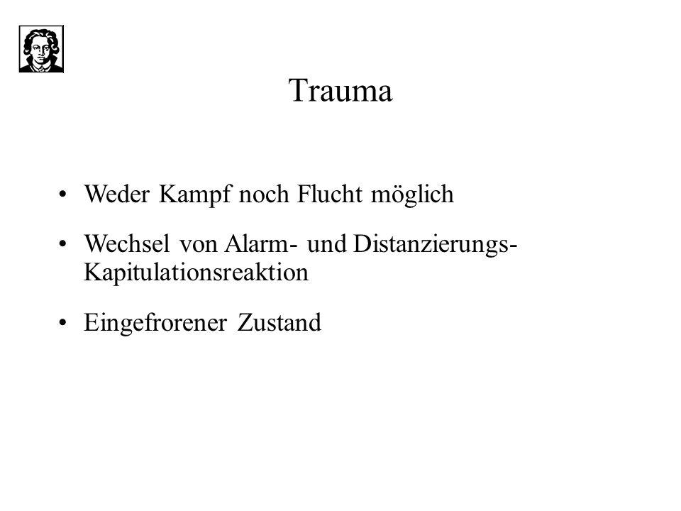 Trauma Weder Kampf noch Flucht möglich Wechsel von Alarm- und Distanzierungs- Kapitulationsreaktion Eingefrorener Zustand