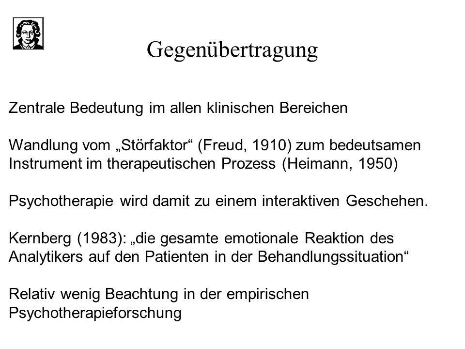 Gegenübertragung Zentrale Bedeutung im allen klinischen Bereichen Wandlung vom Störfaktor (Freud, 1910) zum bedeutsamen Instrument im therapeutischen