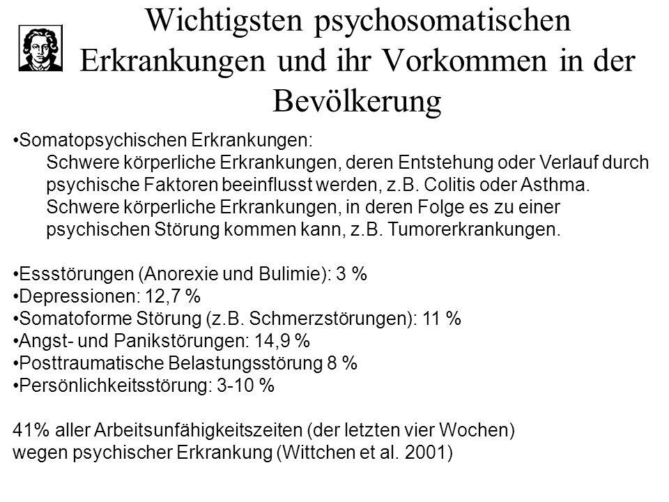 Wichtigsten psychosomatischen Erkrankungen und ihr Vorkommen in der Bevölkerung Somatopsychischen Erkrankungen: Schwere körperliche Erkrankungen, dere