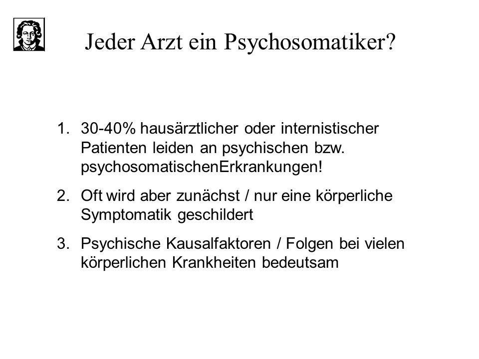 1.30-40% hausärztlicher oder internistischer Patienten leiden an psychischen bzw. psychosomatischenErkrankungen! 2.Oft wird aber zunächst / nur eine k