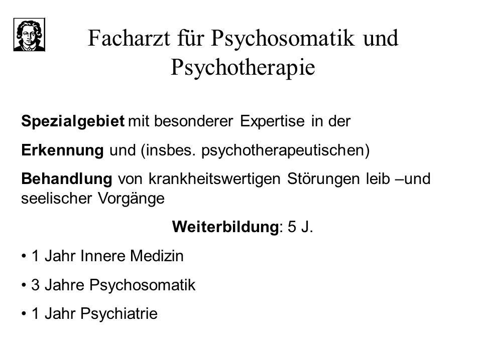 Facharzt für Psychosomatik und Psychotherapie Spezialgebiet mit besonderer Expertise in der Erkennung und (insbes. psychotherapeutischen) Behandlung v