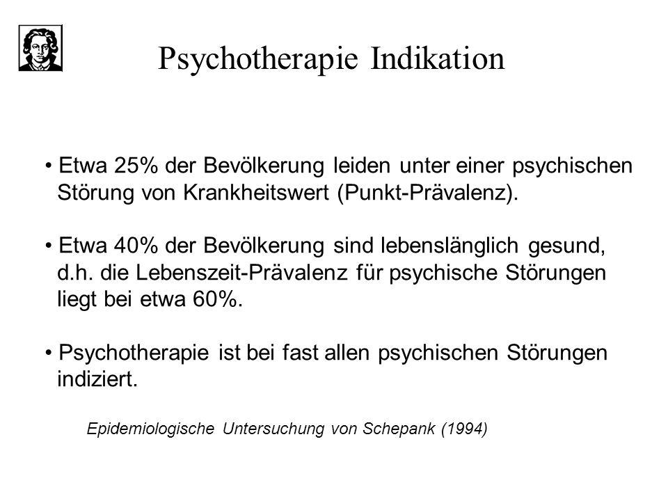 Etwa 25% der Bevölkerung leiden unter einer psychischen Störung von Krankheitswert (Punkt-Prävalenz). Etwa 40% der Bevölkerung sind lebenslänglich ges
