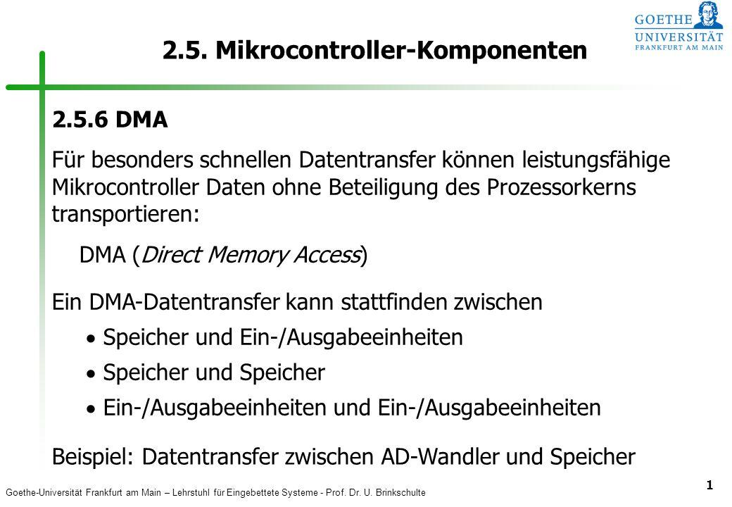 Goethe-Universität Frankfurt am Main – Lehrstuhl für Eingebettete Systeme - Prof. Dr. U. Brinkschulte 1 2.5. Mikrocontroller-Komponenten 2.5.6 DMA Für