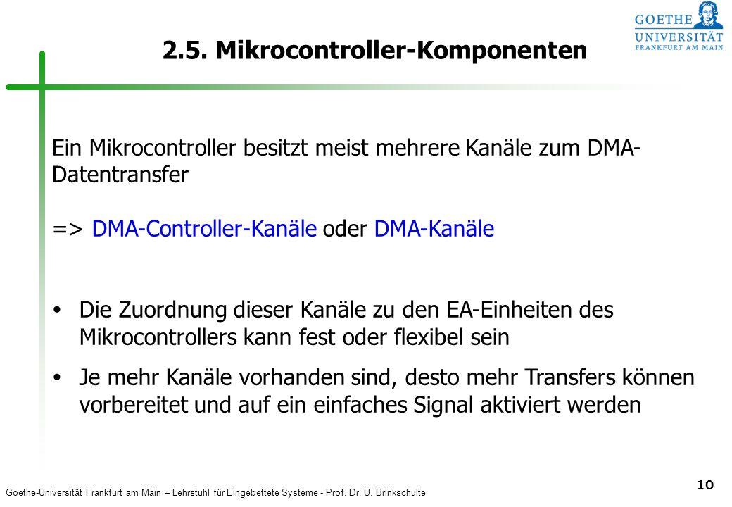Goethe-Universität Frankfurt am Main – Lehrstuhl für Eingebettete Systeme - Prof. Dr. U. Brinkschulte 10 2.5. Mikrocontroller-Komponenten Ein Mikrocon