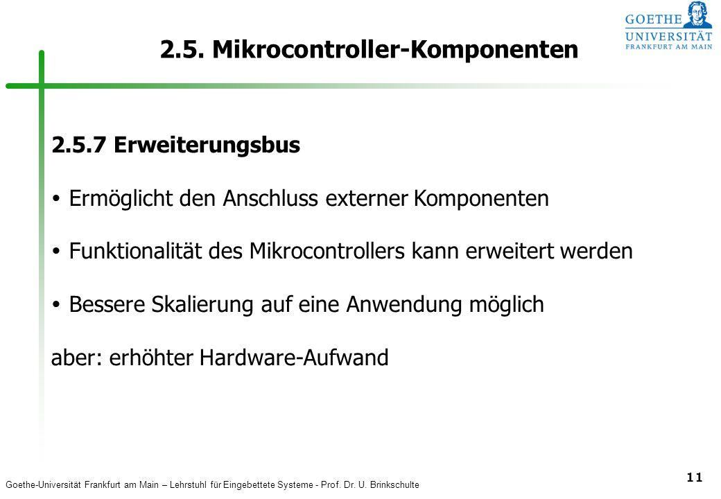 Goethe-Universität Frankfurt am Main – Lehrstuhl für Eingebettete Systeme - Prof. Dr. U. Brinkschulte 11 2.5. Mikrocontroller-Komponenten 2.5.7 Erweit