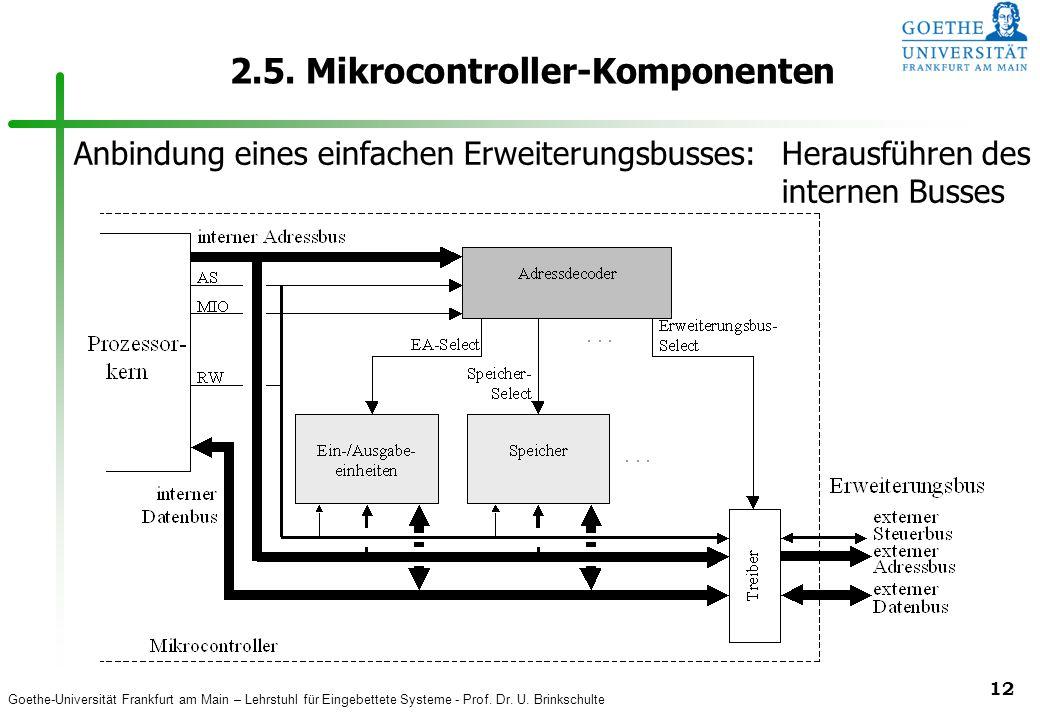 Goethe-Universität Frankfurt am Main – Lehrstuhl für Eingebettete Systeme - Prof. Dr. U. Brinkschulte 12 2.5. Mikrocontroller-Komponenten Anbindung ei