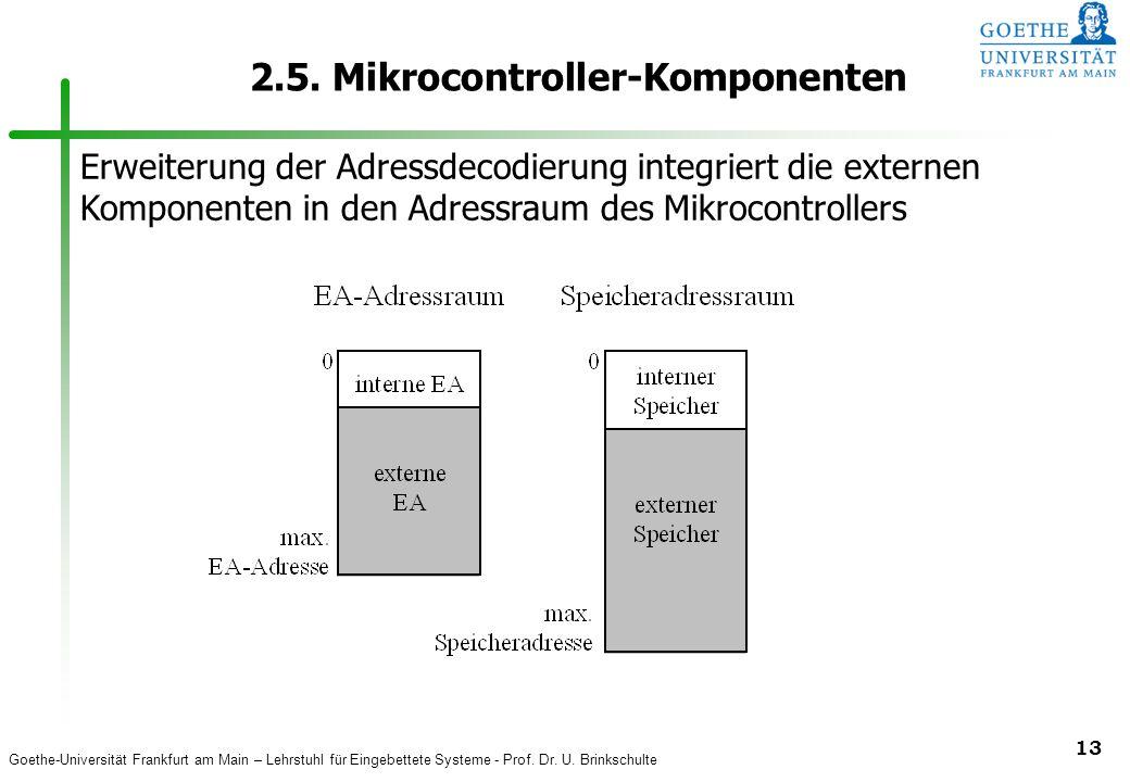 Goethe-Universität Frankfurt am Main – Lehrstuhl für Eingebettete Systeme - Prof. Dr. U. Brinkschulte 13 2.5. Mikrocontroller-Komponenten Erweiterung