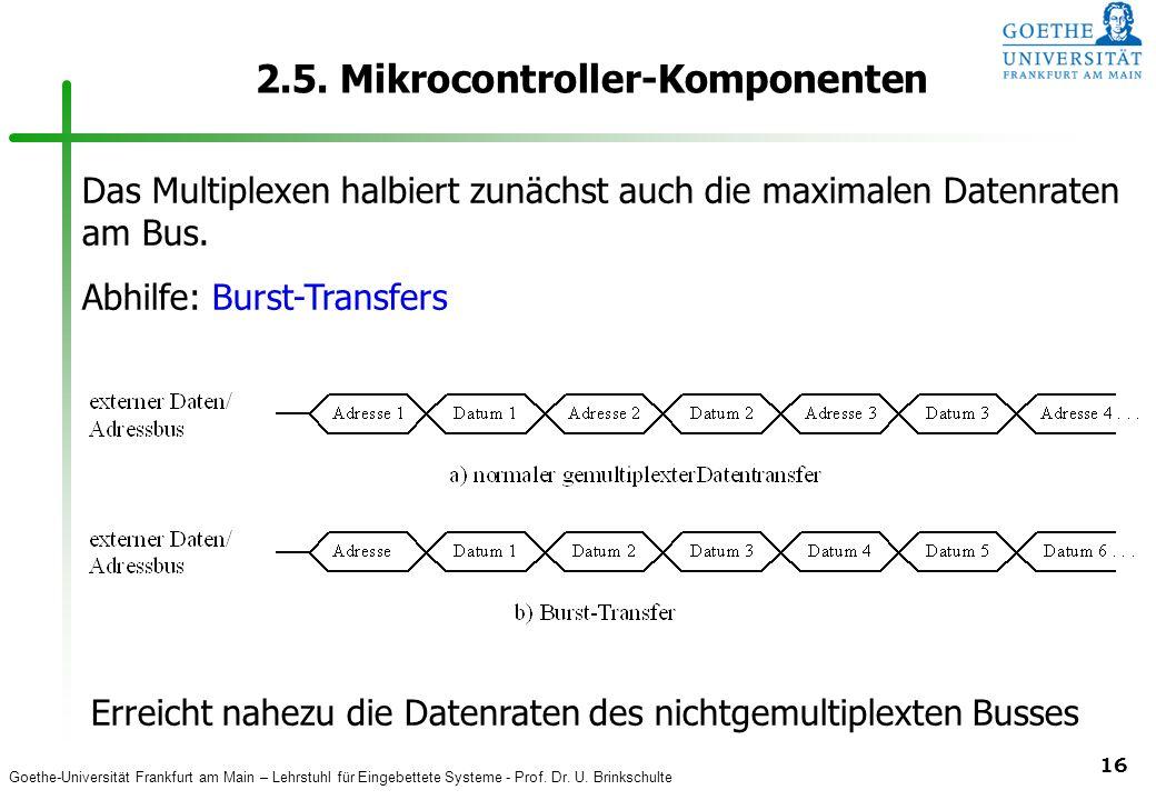 Goethe-Universität Frankfurt am Main – Lehrstuhl für Eingebettete Systeme - Prof. Dr. U. Brinkschulte 16 2.5. Mikrocontroller-Komponenten Das Multiple