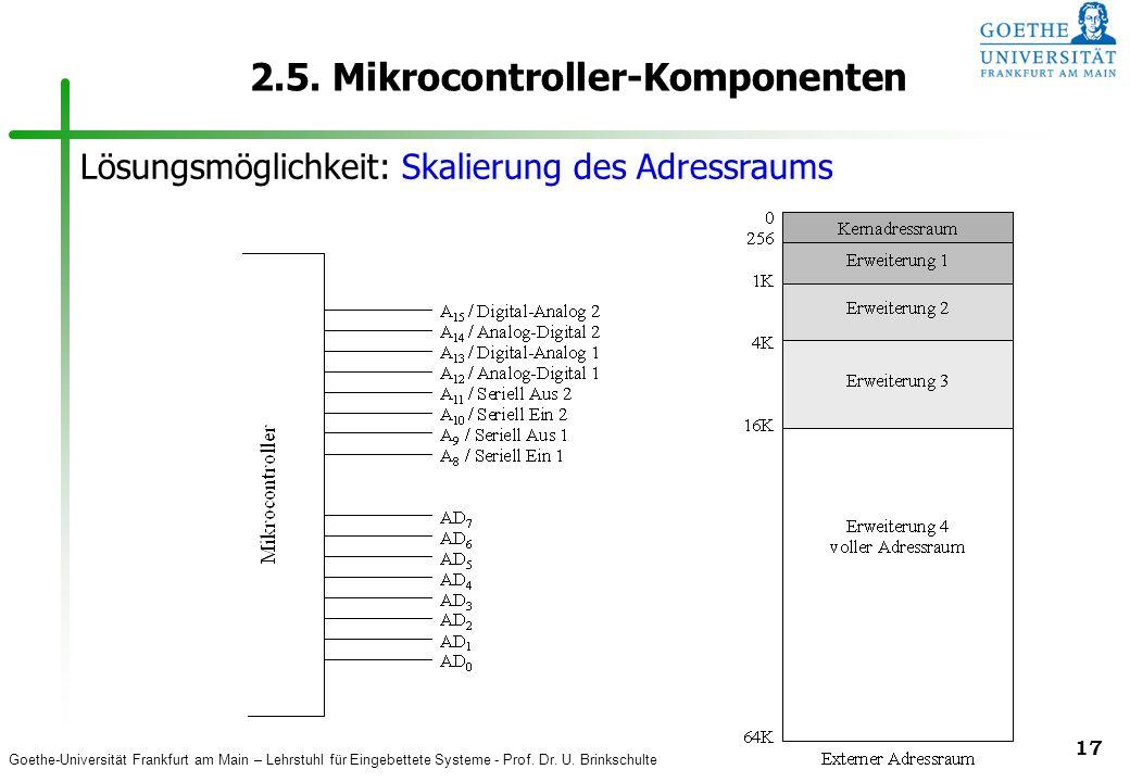 Goethe-Universität Frankfurt am Main – Lehrstuhl für Eingebettete Systeme - Prof. Dr. U. Brinkschulte 17 2.5. Mikrocontroller-Komponenten Lösungsmögli