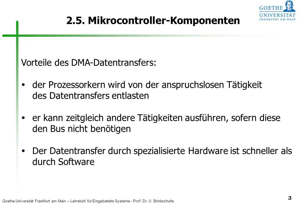 Goethe-Universität Frankfurt am Main – Lehrstuhl für Eingebettete Systeme - Prof. Dr. U. Brinkschulte 3 2.5. Mikrocontroller-Komponenten Vorteile des