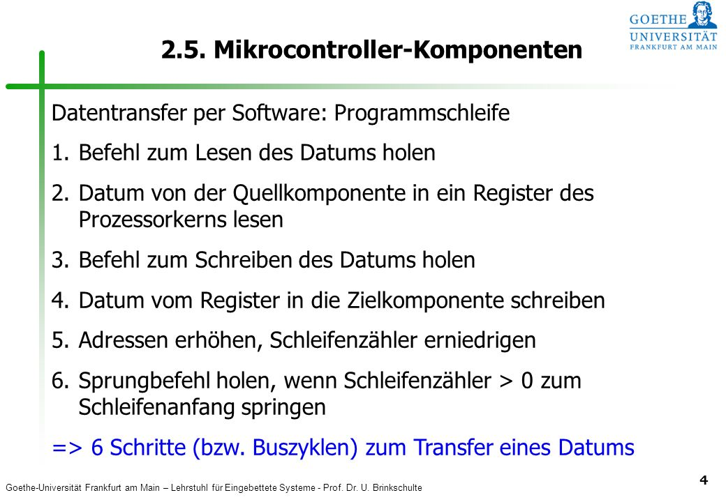 Goethe-Universität Frankfurt am Main – Lehrstuhl für Eingebettete Systeme - Prof. Dr. U. Brinkschulte 4 2.5. Mikrocontroller-Komponenten Datentransfer