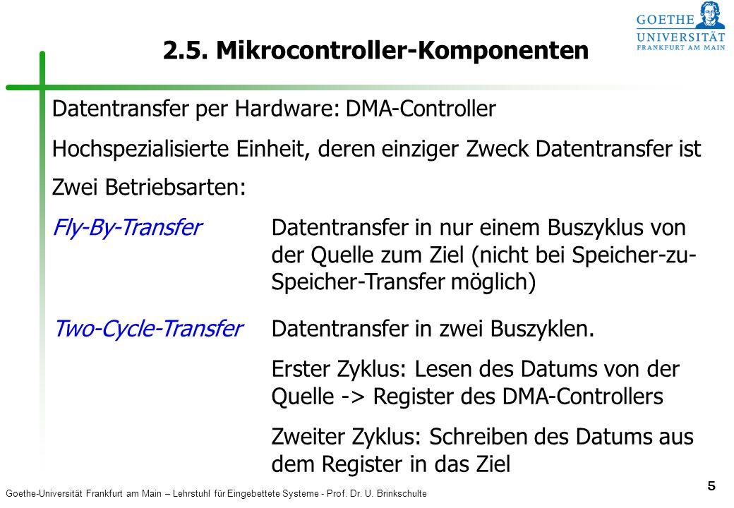 Goethe-Universität Frankfurt am Main – Lehrstuhl für Eingebettete Systeme - Prof. Dr. U. Brinkschulte 5 2.5. Mikrocontroller-Komponenten Datentransfer