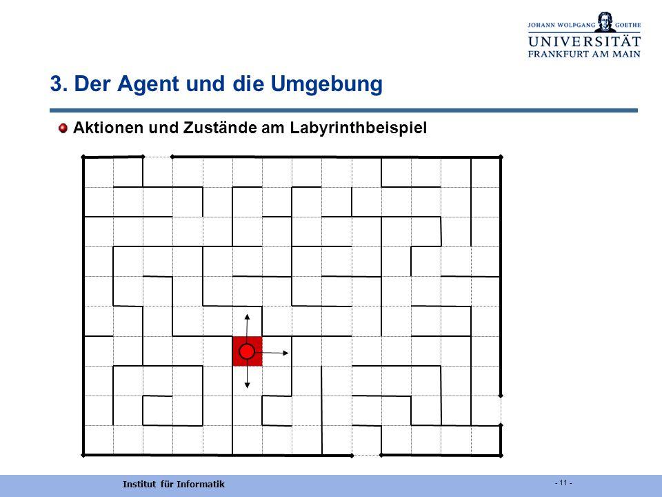 Institut für Informatik - 11 - 3. Der Agent und die Umgebung Aktionen und Zustände am Labyrinthbeispiel