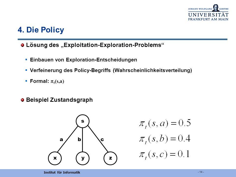 Institut für Informatik - 14 - 4. Die Policy Lösung des Exploitation-Exploration-Problems Einbauen von Exploration-Entscheidungen Verfeinerung des Pol