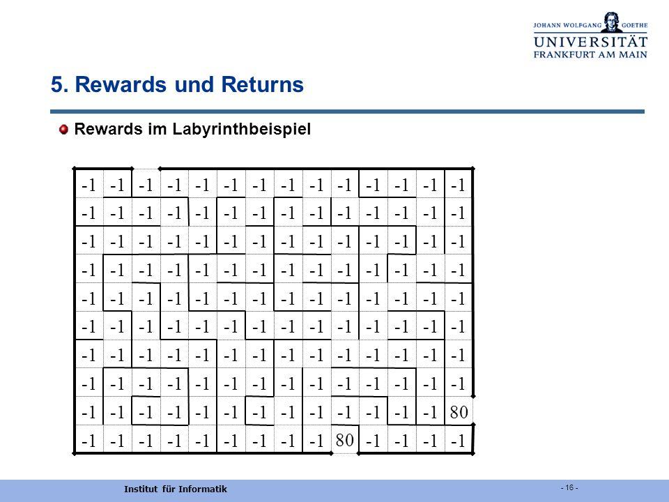 Institut für Informatik - 16 - 5. Rewards und Returns Rewards im Labyrinthbeispiel 80 80