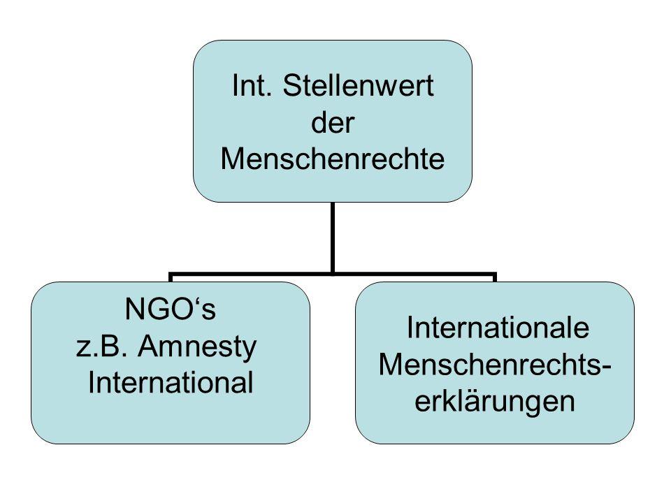 Int.Stellenwert der Menschenrechte NGOs z.B.