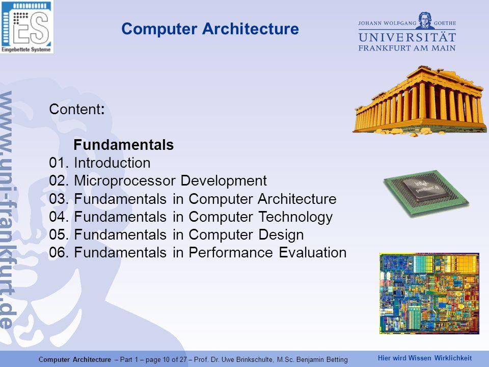 Hier wird Wissen Wirklichkeit Computer Architecture Content: Fundamentals 01. Introduction 02. Microprocessor Development 03. Fundamentals in Computer