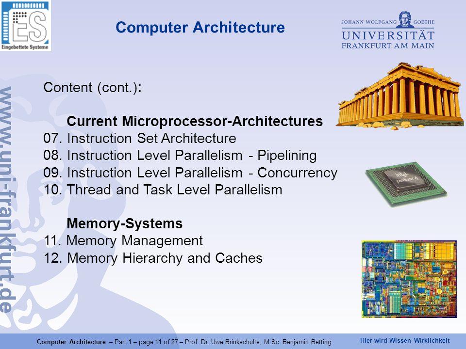 Hier wird Wissen Wirklichkeit Computer Architecture Content (cont.): Current Microprocessor-Architectures 07. Instruction Set Architecture 08. Instruc