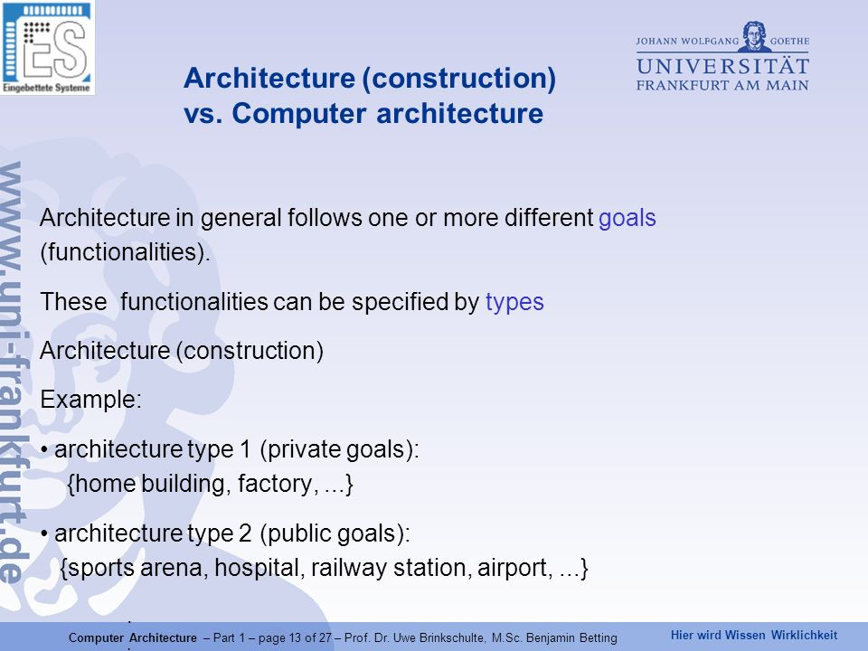 Hier wird Wissen Wirklichkeit Architecture in general follows one or more different goals (functionalities). These functionalities can be specified by