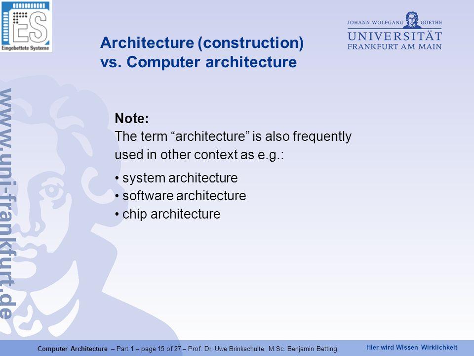 Hier wird Wissen Wirklichkeit Note: The term architecture is also frequently used in other context as e.g.: system architecture software architecture