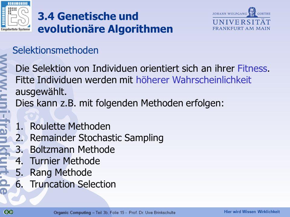 Hier wird Wissen Wirklichkeit Organic Computing – Teil 3b, Folie 15 - Prof. Dr. Uwe Brinkschulte Selektionsmethoden Die Selektion von Individuen orien