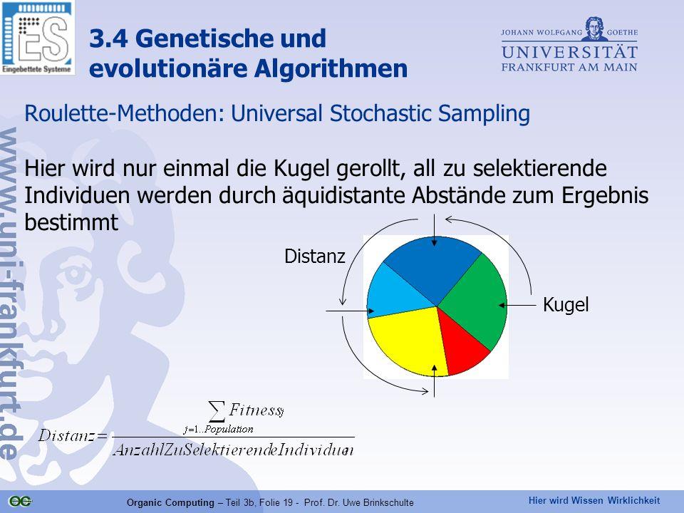 Hier wird Wissen Wirklichkeit Organic Computing – Teil 3b, Folie 19 - Prof. Dr. Uwe Brinkschulte Roulette-Methoden: Universal Stochastic Sampling Hier