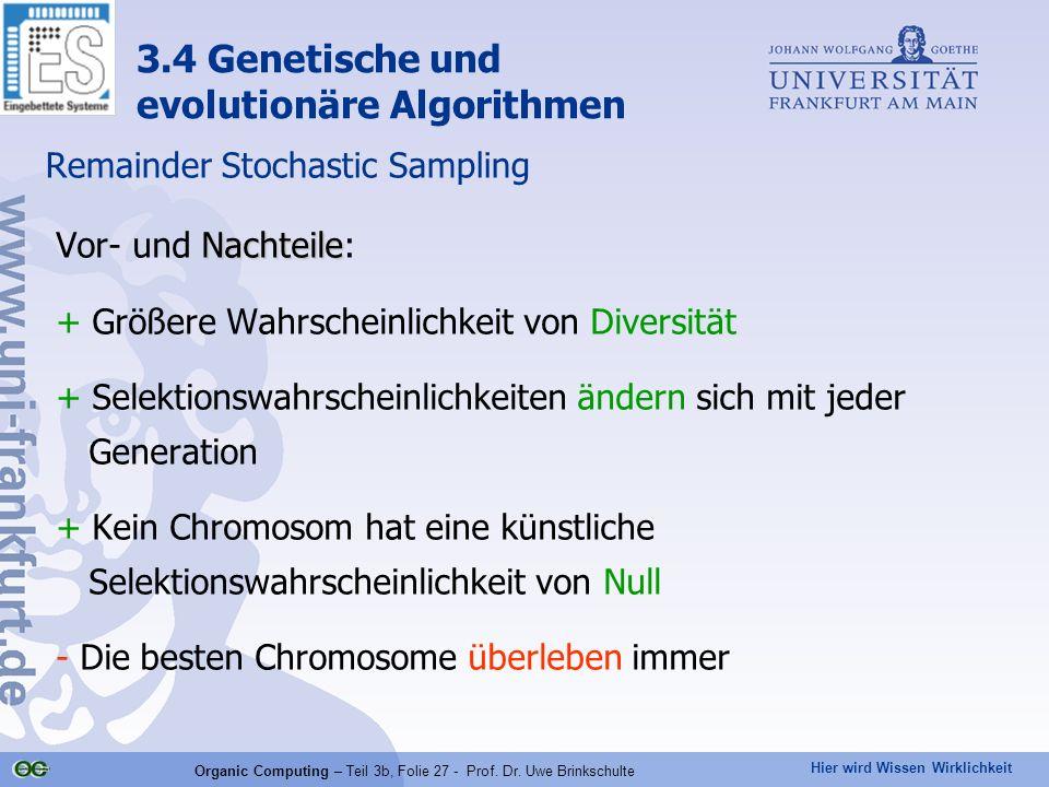 Hier wird Wissen Wirklichkeit Organic Computing – Teil 3b, Folie 27 - Prof. Dr. Uwe Brinkschulte Remainder Stochastic Sampling 3.4 Genetische und evol
